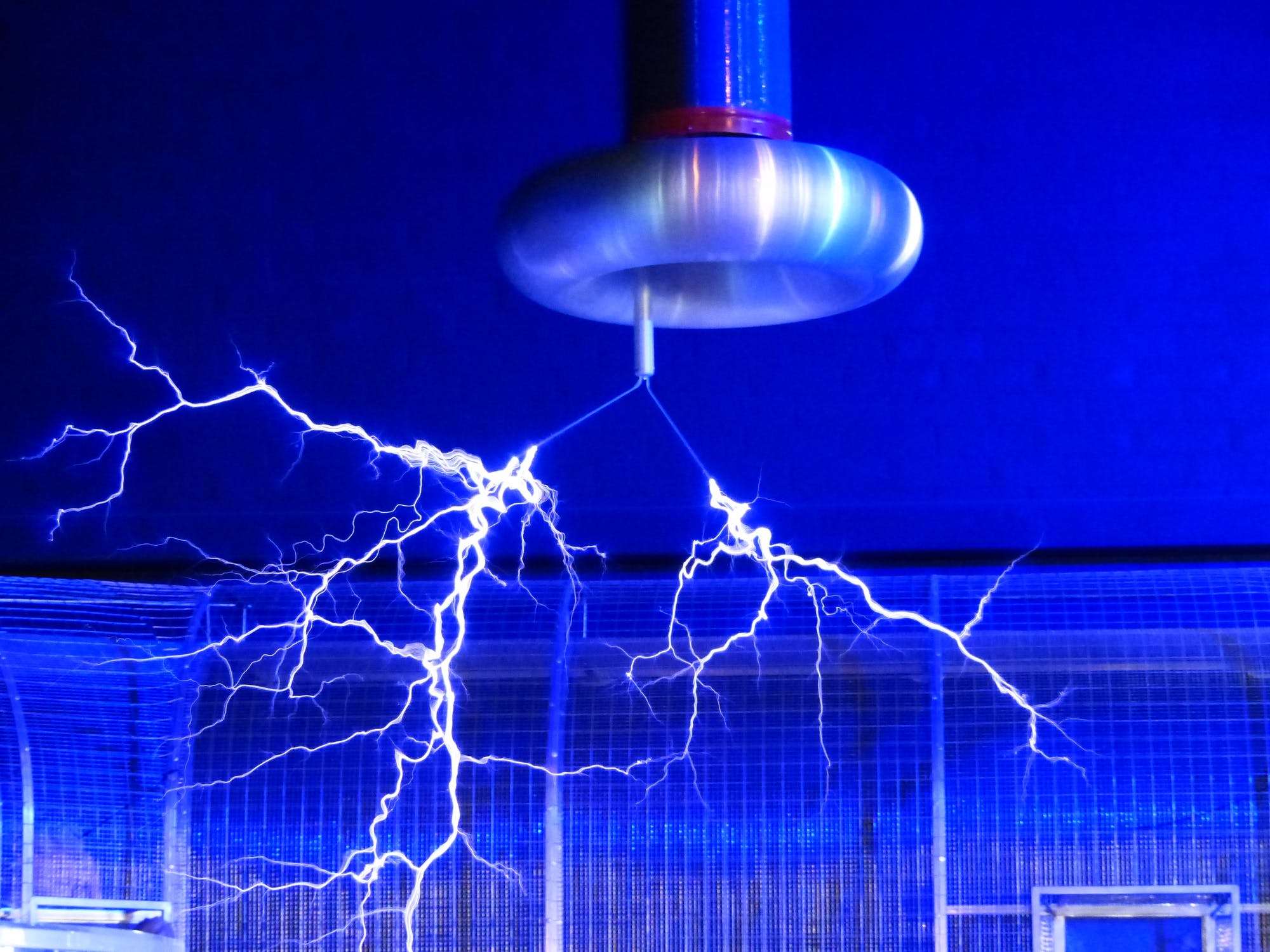Blue electric sparks being produced by a Tesla coil.