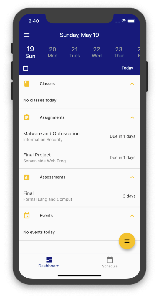 Screenshot of the Agenda page of the UniPlan mobile app
